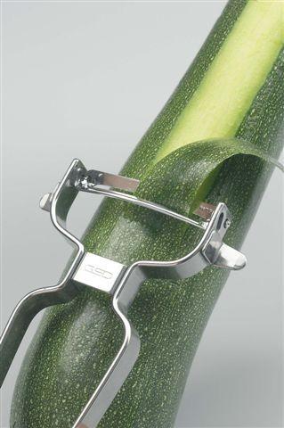 Gemüseschäler aus Edelstahl mit gebogener Klinge