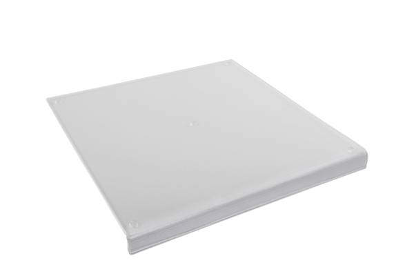 Acryl-Schneidbrett mit Anschlag, 38 x 38 x 3,8 x 0,6 cm