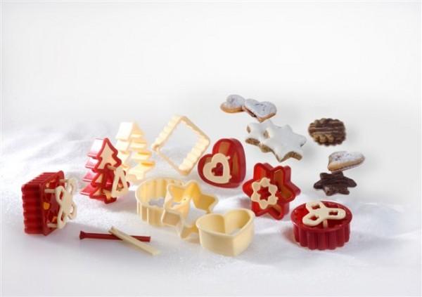 Linzer Keksausstecher Set 12-teilig mit Auswerfer